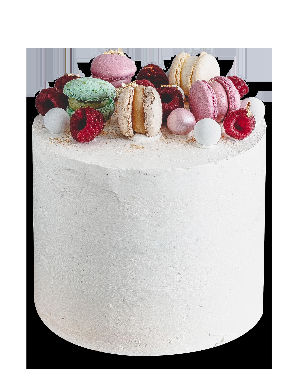 Hochzeitstorte mit Macarons, Himbeeren & Perlen